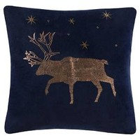 Velvet Reindeer Throw Pillow - Navy - Threshold™
