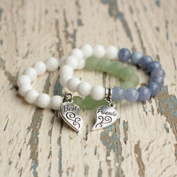 best friend bracelet set best friends charm bff gift for friends couple bracelet friend forever charm friendship jewelry white blue green
