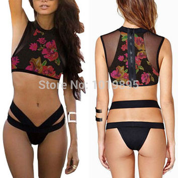 New Sexy Black Lace High Waisted Bikini Print Women Swimwear Zipper Mesh Bathing Suit Tops Tank Bodycon Bandage Swimsuit Biquini