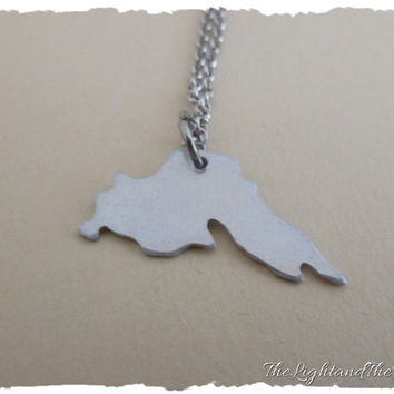 Lake Superior - Hand Stamped Jewelry - Custom heart location - Gift Idea - Lake - Location - Map - World