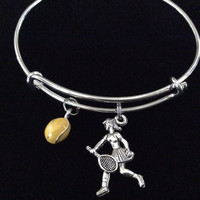 Yellow Tennis Ball and Player Charm Expandable Bracelet Adjustable Wire Bangle Trendy Stacking Team Sport Coach Gift