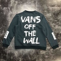 VANS autumn and winter new couple models loose hooded long-sleeved sweater Dark green