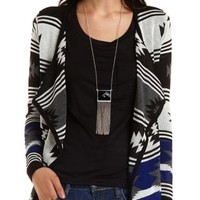 Aztec Print Cascade Cardigan by Charlotte Russe