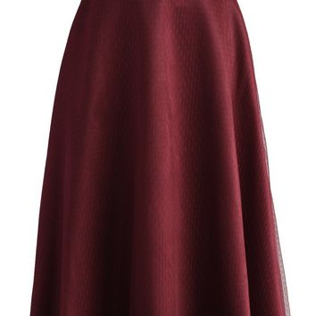 Elegant Prestige A-line Full Skirt in Wine