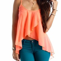 semi-sheer tulip front top $24.80 in LIME NAVY NEONCORAL - Sleeveless | GoJane.com