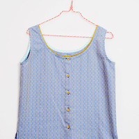 Handmade Pure vintage Cotton blue Top with buttons [Louise tank/blue] Small, Medium, Large