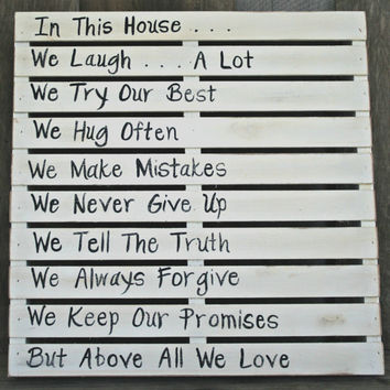 Family Rules Sign - Pallet Style - Home Decor, Handmade, Country, Cottage, Shabby Chic, Eclectic