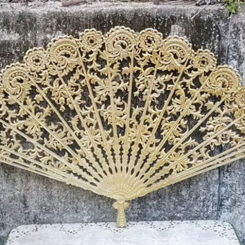 Burwood Large Spanish Lace Wall Fan Mid Century Victorian Revival Wall Hanging