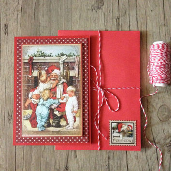 Christmas card - crafted scrapbooking OOAK postcard - red polk-dotted rustic-new year merry christmas - winter snow bell-europeanstreetteam