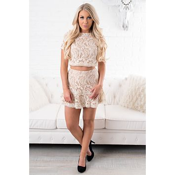 Lace Do This Two Piece Set (Taupe)