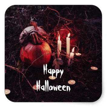 Rustic Halloween Pumpkin and Candles Square Sticker
