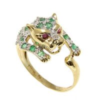GENUINE EMERALD DIAMOND RUBY EYE PANTHER CHEETAH CAT RING SOLID 14K YELLOW GOLD