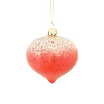 "3"" Crimson Red and Silver Ombre Mercury Glass Onion Shaped Finial Christmas Ornament"