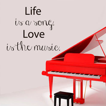Wall Decals Quote Life Is A Song Love Is The Music Words Vinyl Decal Sticker Home Interior Design Art Mural Kids Nursery Room Decor KG283