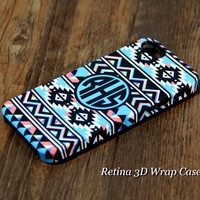 Ethnic Teal Striped Custom Monogram iPhone 6s Plus 5S 5 5C 4 Protective Case #931