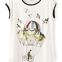 Cartoon Fire Balloon Tee - OASAP.com