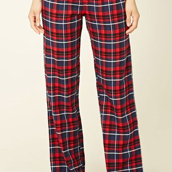 Cotton-Blend Plaid PJ Pants
