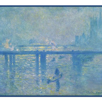 Charing Cross Bridge London in Fog inspired by Claude Monet's impressionist painting Counted Cross Stitch or Counted Needlepoint Pattern