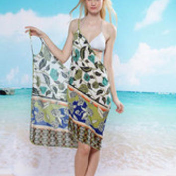 Positioning Flower Green Leaves Beach Cover-up