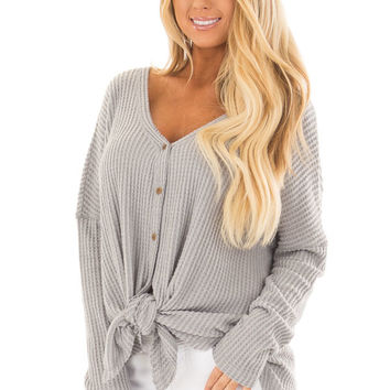 Cloud Grey Waffle Knit Button Up Long Sleeve Top