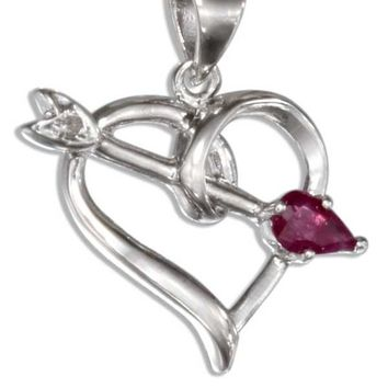 Sterling Silver Open Heart Pendant With Ruby And Cubic Zirconia Arrow