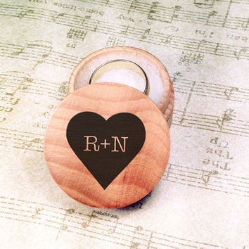 Custom Personalized Engraved Wedding Proposal Round Wood Ring Box, Heart Initials Design #1