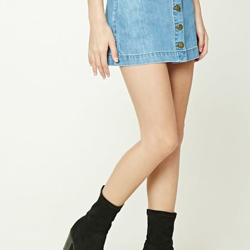 Denim Button-Front Skirt - Women - Bottoms - Skirts - 2000209346 - Forever 21 Canada English