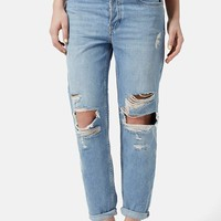 Women's Topshop Moto 'Hayden' Ripped Boyfriend Jeans (Light Denim)