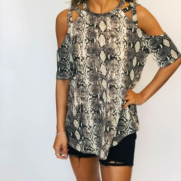 Cross Strap Top - Snakeskin