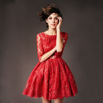 Vestidos de Festa Curto 2015 Free Shipping Half Sleeve Red Lace Cocktail Party Dresses for Teenagers Short Homecoming Dress