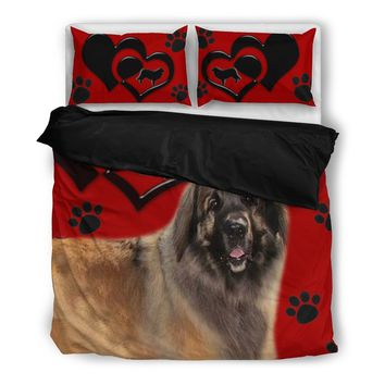 Valentine's Day Special-Leonberger Dog Red Print Bedding Set-Free Shipping