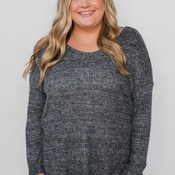 Twist of Love Back Detail Thermal Top- Charcoal