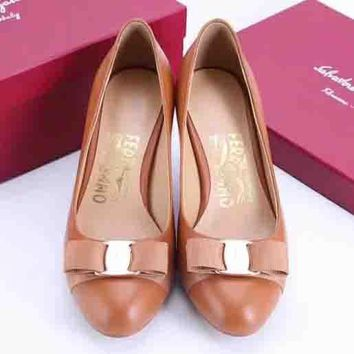 Salvatore Ferragamo Women Fashion Simple Casual High Heeled Shoes
