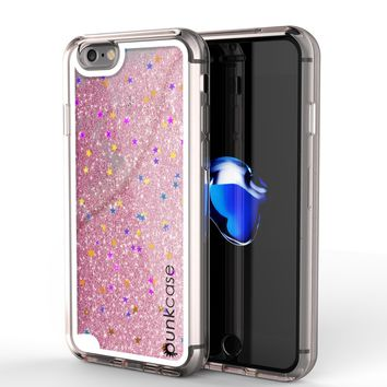 iPhone 8 Case, PunkCase LIQUID Rose Series, Protective Dual Layer Floating Glitter Cover
