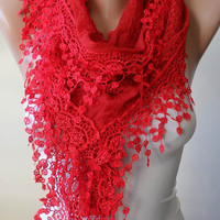 New - Red Lace Scarf with Lace Trim Edge - Elegant Lace Fabric