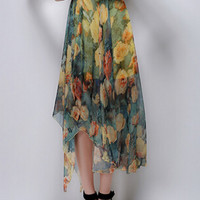 Yellow Vintage Floral Chiffon Skirt