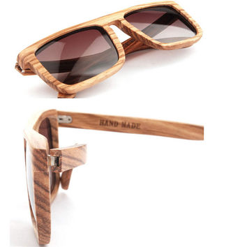 Retro Handmade Wood Classic Sunglasses + Bamboo Sunglasses Box 17