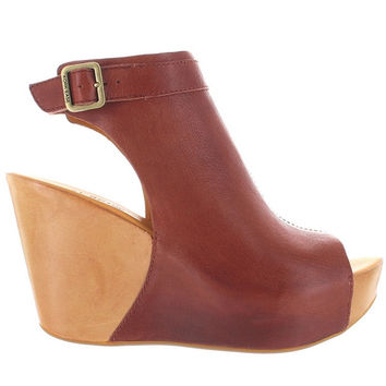 Kork-Ease Berit - Brown Leather High Platform Wedge Sandal