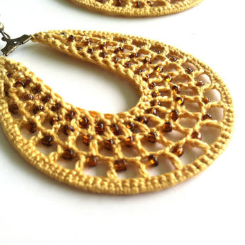 Rustic Knit Earrings Made of Mustard Yellow Yarn and Brown Seed Beads, Crocheted Teardrop Earrings, Beaded Drop Gold Crochet Earrings