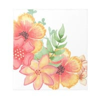 Watercolor Flower Design Notepad