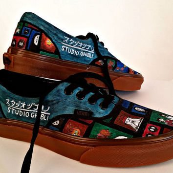 Studio Ghibli Custom Vans Sneakers featuring characters from Spirited Away and Howl's Moving Castle