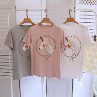 Kawaii Clothes Unicorn Printed T Shirt Women Cotton Summer Short Sleeve T-Shirt Pink Korean Funny Top Tee Ropa Mujer Tumblr