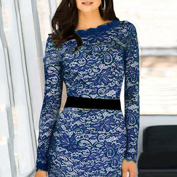 Sheer Sleeve Floral Lace with Waist Wrap Belt Bodycon Midi Dress
