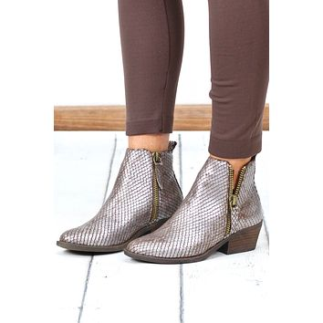 Very G: Metallic Cassidy V-Cut Dual Zipper Bootie {Taupe}