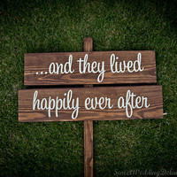 Rustic Wedding Signs and they lived happily by SweetWeddingDetails