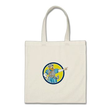 Spanish Conquistador Pointing Cartoon Circle Tote Bag
