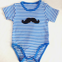 Little Man Mustache Blue Stripes Baby Boy Onesuit Romper. Baby Gift