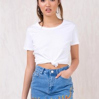 Flame Denim Mini Skirt