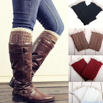 Lace Knit Boot Socks - Womens Knee Hi Sock Leg Warmer