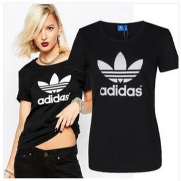 """""""Adidas"""" Casual Letter Pattern Leaves Short Sleeve Shirt Top Tee"""